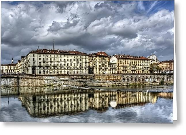 Reflecting Buildings Greeting Cards - Turin Italy Greeting Card by Carol Japp
