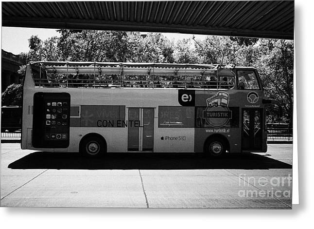 Hop On Hop Off Bus Greeting Cards - turistik open top city bus tours of Santiago Chile Greeting Card by Joe Fox