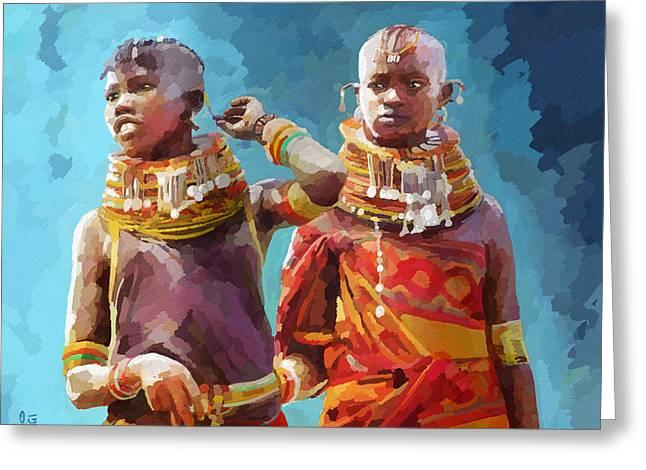 Youthful Greeting Cards - Young Turkana Girls Greeting Card by Anthony Mwangi