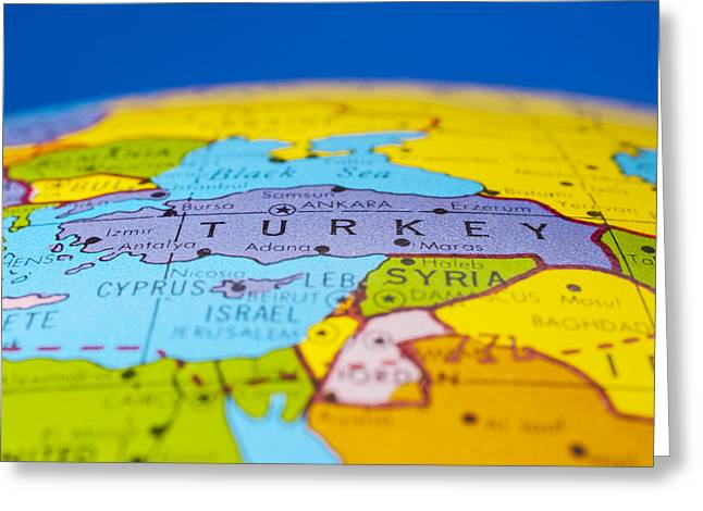 Geographic Location Greeting Cards - Turkey - antique  globe map travel background Greeting Card by Donald  Erickson