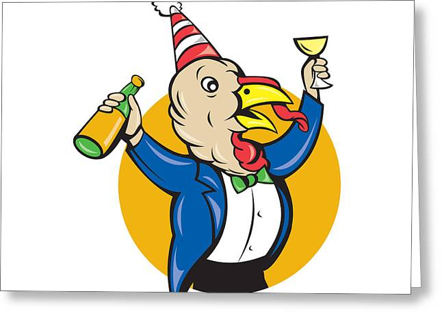 Wildlife Celebration Greeting Cards - Turkey Celebrating Wine Party Hat Cartoon Greeting Card by Aloysius Patrimonio