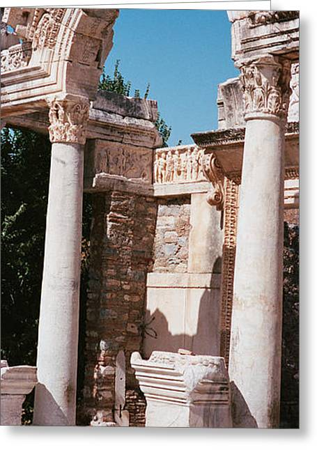 Turkey, Ephesus, Building Facade Greeting Card by Panoramic Images