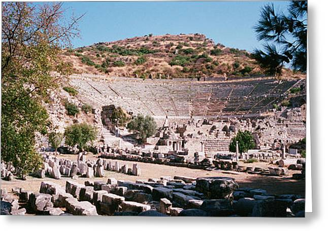 Outdoor Theater Greeting Cards - Turkey, Ephesus, Main Theater Ruins Greeting Card by Panoramic Images