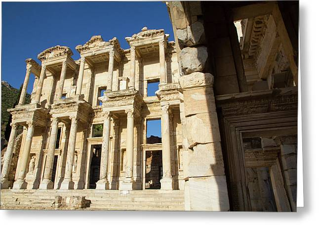 Turkey, Ephesus The Library Of Ephesus Greeting Card by Emily Wilson