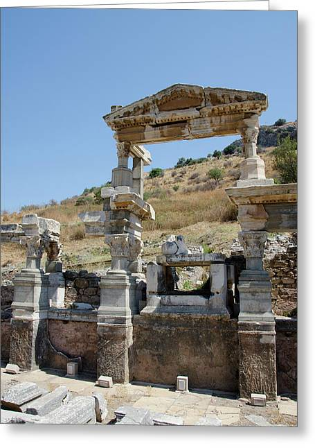 Turkey, Ephesus The Nymphaeum Traiani Greeting Card by Cindy Miller Hopkins