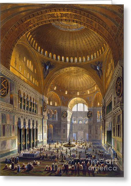 Hagia Sofia Greeting Cards - Turkey: Hagia Sopia, 1852 Greeting Card by Granger