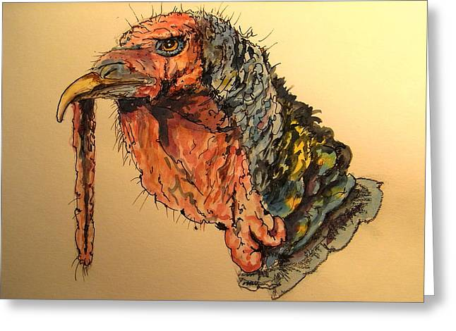 Turkey Greeting Cards - Turkey head bird Greeting Card by Juan  Bosco