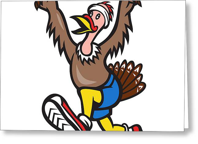 Turkey Run Runner Cartoon Isolated Greeting Card by Aloysius Patrimonio