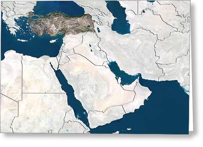 Western Asia Greeting Cards - Turkey, satellite image Greeting Card by Science Photo Library