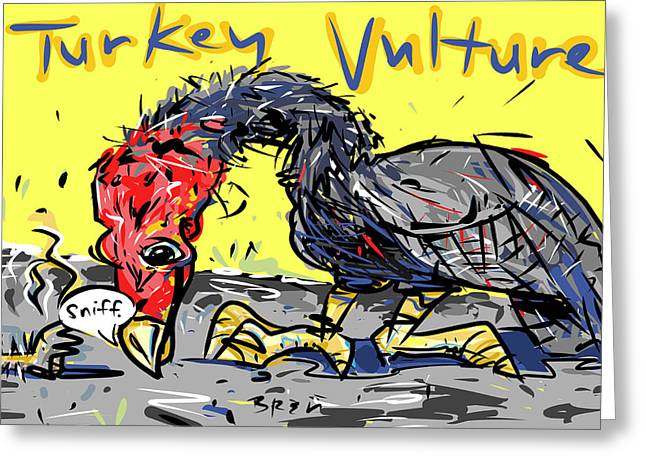 Roadway Drawings Greeting Cards - Turkey Vulture Greeting Card by Brett LaGue