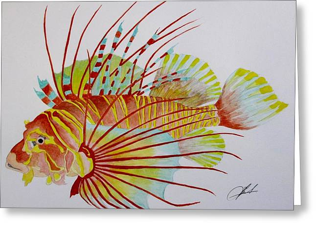 Antenna Paintings Greeting Cards - Turkeyfish Greeting Card by Jack  Bol