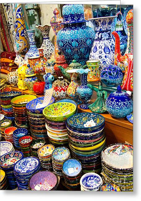 Cruising Photographs Greeting Cards - Turkish Ceramic Pottery 1 Greeting Card by David Smith