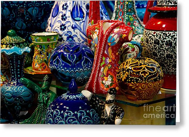 Marketplace Greeting Cards - Turkish Ceramic Pottery 2 Greeting Card by David Smith
