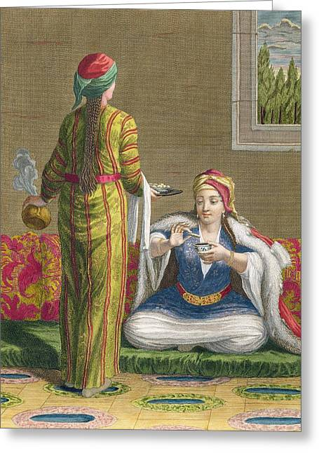 Dunk Greeting Cards - Turkish Girl, Having Coffee Greeting Card by Jean-Baptiste Haussard