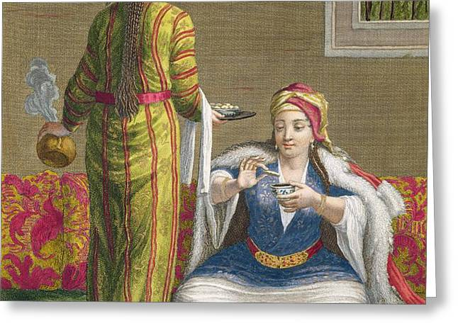 Turkish Girl, Having Coffee Greeting Card by Jean-Baptiste Haussard