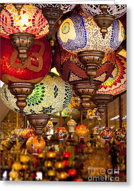 Artisan Made Greeting Cards - Turkish Lamps Greeting Card by Brian Jannsen