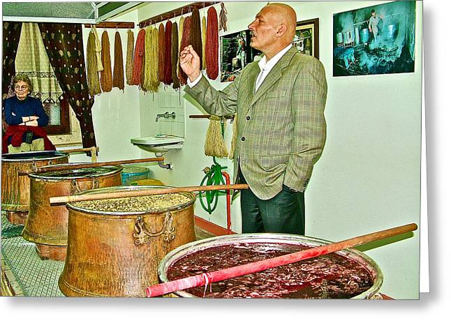 Traveling Salesman Greeting Cards - Turkish Rug Salesman Explains about Natural Dye Vats in Weaving Factory in Avanos-Turkey  Greeting Card by Ruth Hager