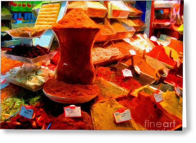 Spice Mixed Media Greeting Cards - Turkish Spice Greeting Card by John Kreiter