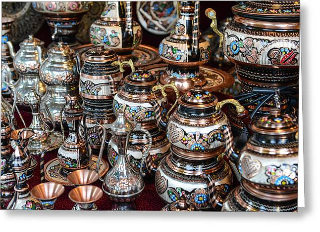 Turkish Teapots For Sale In Istanbul Turkey Greeting Card by Brandon Bourdages