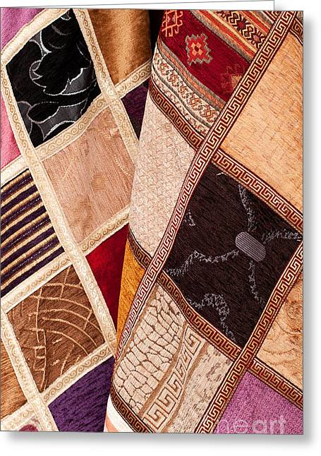 Geometric Design Photographs Greeting Cards - Turkish Textiles 05 Greeting Card by Rick Piper Photography