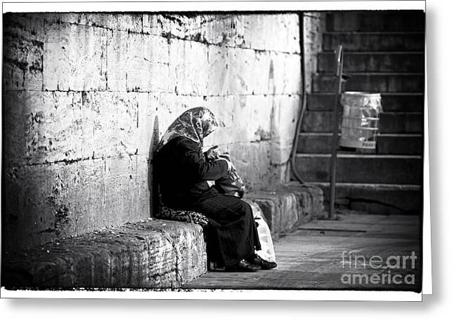 Hijabs Art Greeting Cards - Turkish Woman Greeting Card by John Rizzuto