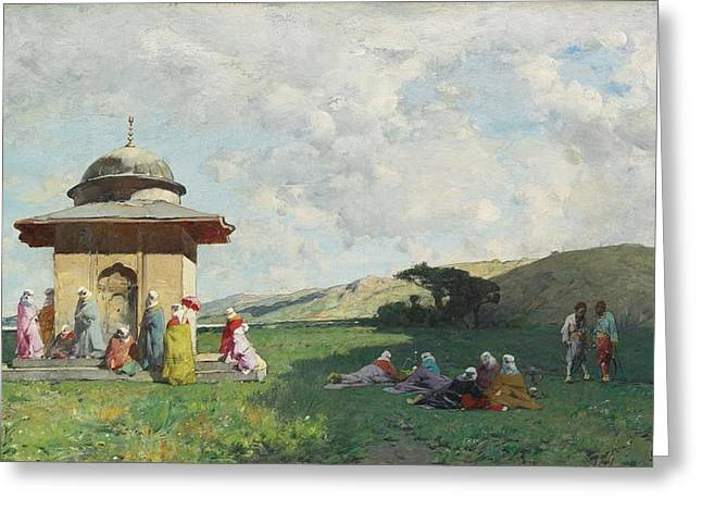 Turkish Women At A Shrine Greeting Card by Celestial Images