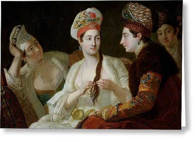 Femme Greeting Cards - Turkish Women Oil On Canvas Greeting Card by Antoine de Favray