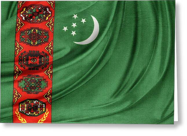 Textiles Photographs Photographs Greeting Cards - Turkmenistan flag Greeting Card by Les Cunliffe