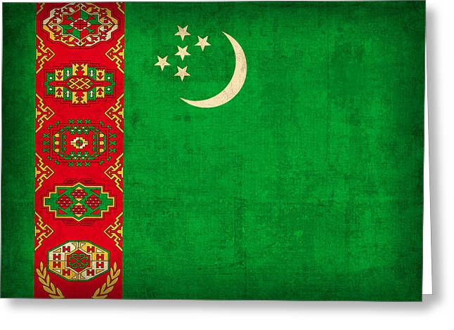 National Symbol Greeting Cards - Turkmenistan Flag Vintage Distressed Finish Greeting Card by Design Turnpike