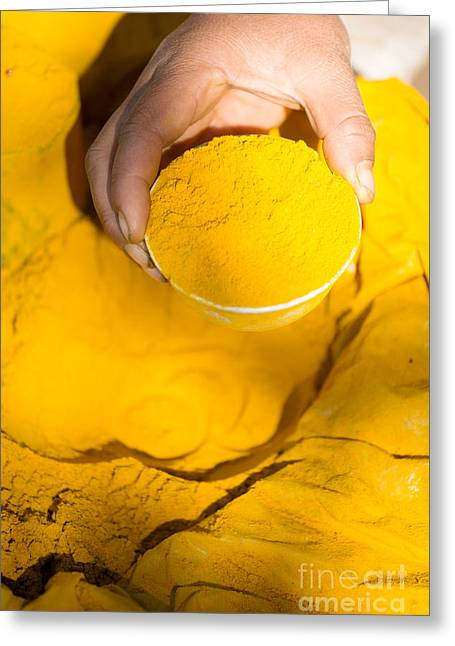 Local Food Photographs Greeting Cards - Turmeric powder at local market - Myanmar Greeting Card by Matteo Colombo