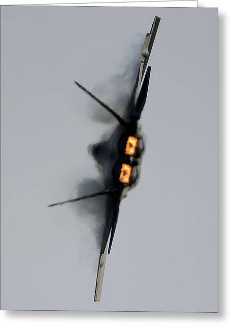 The Higher Planes Greeting Cards - Turn and Burn in the F-22 Greeting Card by Senior Airman Kayla Newman
