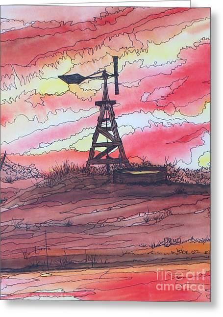 Turn Off The Windmill  Greeting Card by Lorita Montgomery