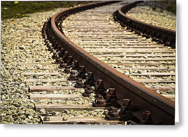 Wooden Platform Greeting Cards - Turn Old Rail Track Greeting Card by Jozef Jankola