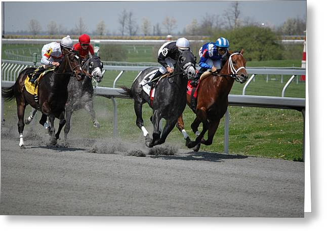 Keeneland Greeting Cards - Turn One Greeting Card by Paul Harris