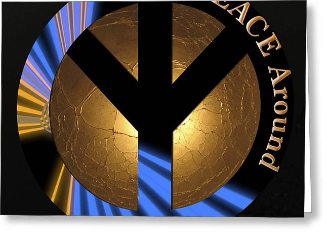 Symbol Of Power Greeting Cards - Turn PEACE Around Greeting Card by Charlie and Norma Brock