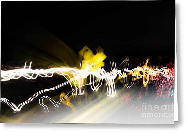 Abstract Digital Pyrography Greeting Cards - Turn Right abstract modern light art Greeting Card by Michael Bennett