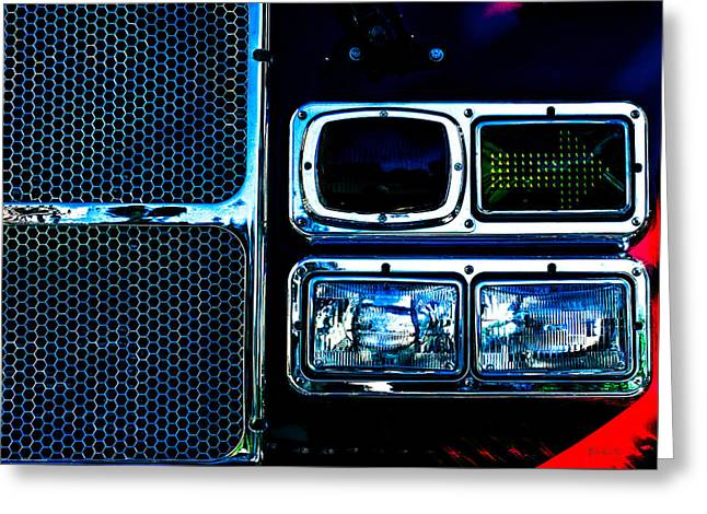 Fame Shop Greeting Cards - Turn Signal Fire Engine Number Five Greeting Card by Bob Orsillo