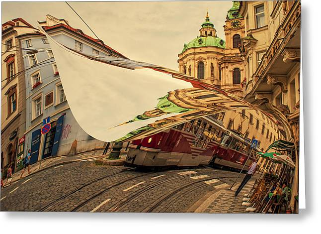 Book Cover Art Greeting Cards - Turn the Page of Past Day. Prague Streets Greeting Card by Jenny Rainbow