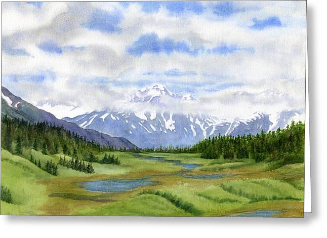 Highway Paintings Greeting Cards - Turnagain Pass Mountain View Greeting Card by Sharon Freeman