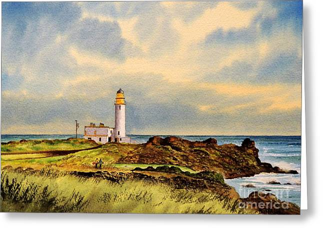 Golf Art Greeting Cards - Turnberry Golf Course 9Th Tee Greeting Card by Bill Holkham