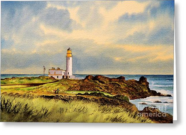Linked Paintings Greeting Cards - Turnberry Golf Course 9Th Tee Greeting Card by Bill Holkham