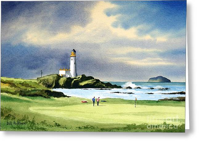 Ayrshire Greeting Cards - Turnberry Golf Course Scotland 10th Green Greeting Card by Bill Holkham