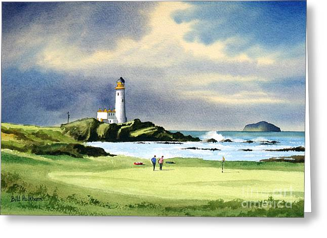 Golf Hole Greeting Cards - Turnberry Golf Course Scotland 10th Green Greeting Card by Bill Holkham