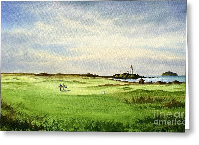 Hole 12 Greeting Cards - Turnberry Golf Course Scotland 12Th Tee Greeting Card by Bill Holkham