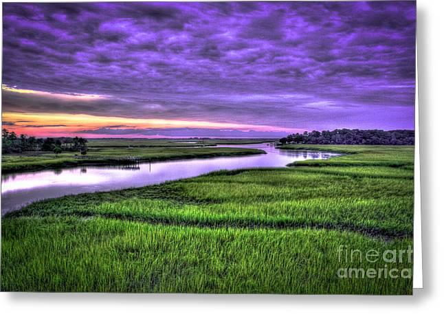 Salt Marsh Greeting Cards - Sunset Over Turners Creek between Savannah and Tybee Island GA Greeting Card by Reid Callaway