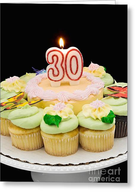 Birthday Cake And Cupcakes Celebrating 30 Years Greeting Card by Vizual Studio