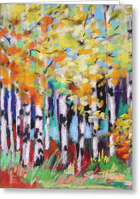 Birch Tree Pastels Greeting Cards - Turning Birches Greeting Card by John  Williams