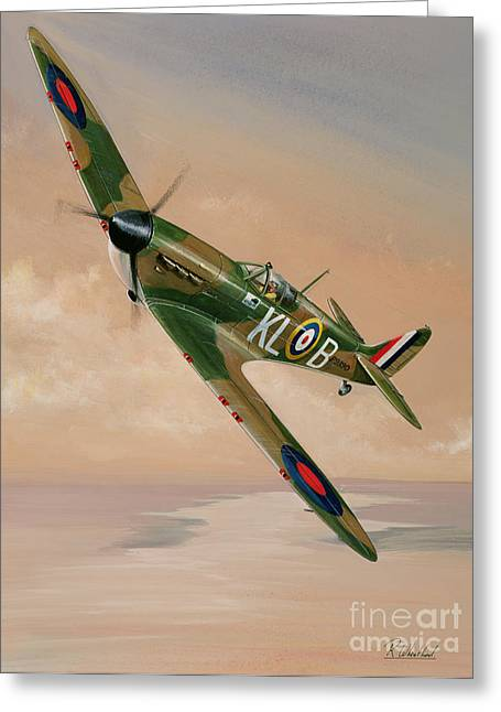 Military Airplanes Paintings Greeting Cards - Turning For Home Greeting Card by Richard Wheatland