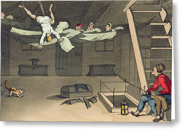 Bed Drawings Greeting Cards - Turning In - And Out Again, Plate Greeting Card by Thomas Rowlandson