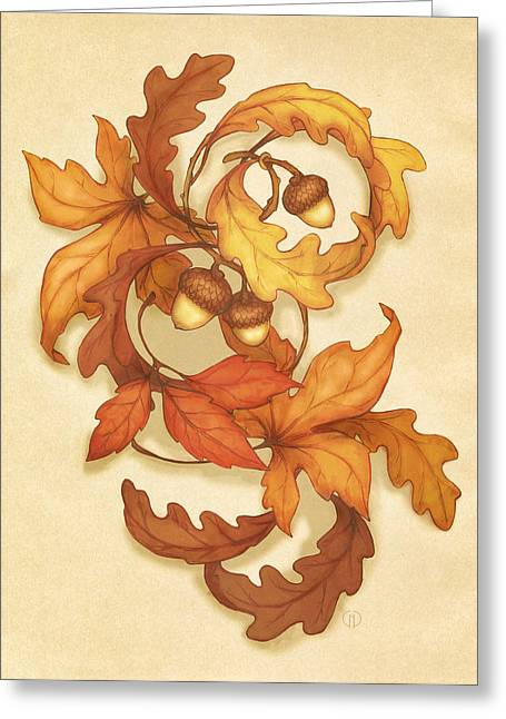 Turning Leaves Digital Art Greeting Cards - Turning Leaves Greeting Card by Catherine Noel